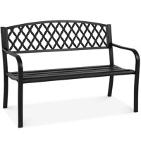 Best Choice Products 50in Steel Garden Bench for Outdoor, Yard, Porch, Patio Furniture Chair w/ Cross Design Backrest