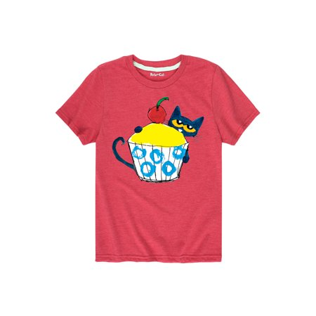 Pete The Cat With Big Cupcake  - Toddler Short Sleeve Tee
