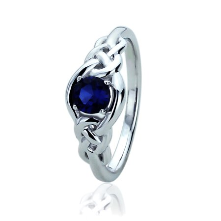 14K White Gold 0.5 Carat Round Simulated Blue Sapphire CZ Celtic Love Knot Band Wedding Engagement Ring White Gold Celtic Love Knots