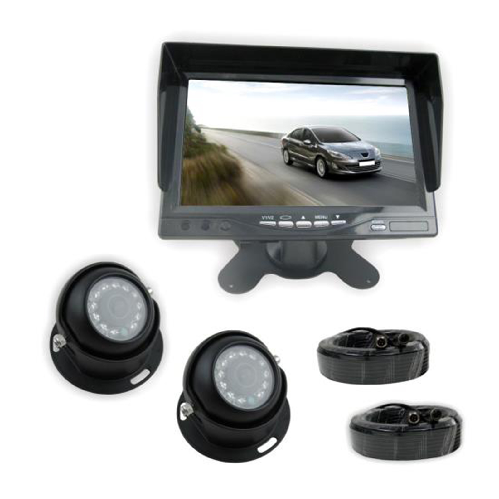 "Rear View Backup Camera & Monitor System Kit, 7"" Display, (2) Waterproof Angle Adjustable Night Vis Cams, Front/Rear Vehicle Mount"