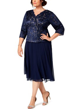 Alex Evenings Womens Plus Lace Embroidered Midi Dress