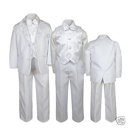 NEW Boys Baptism Communion Wedding Formal White Suit  S M L XL 2T 3T 4T 5 6 7-20 (First Communion Boy Clothes)