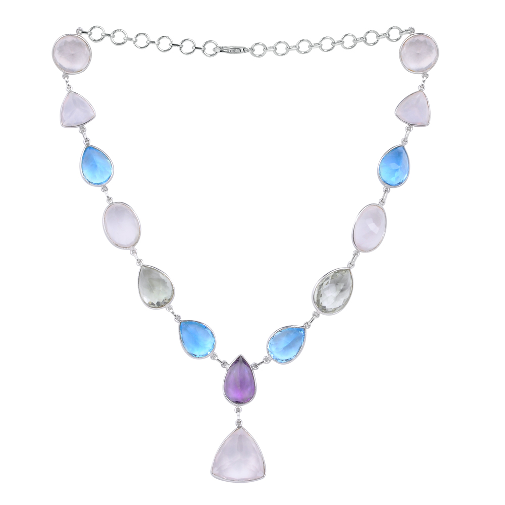 Orchid Jewelry 153 Carat Rose Quartz, Blue Topaz, Amethyst and Green Amethyst Sterling Silver Handmade Necklace Jewelry by Orchid Jewelry Mfg Inc