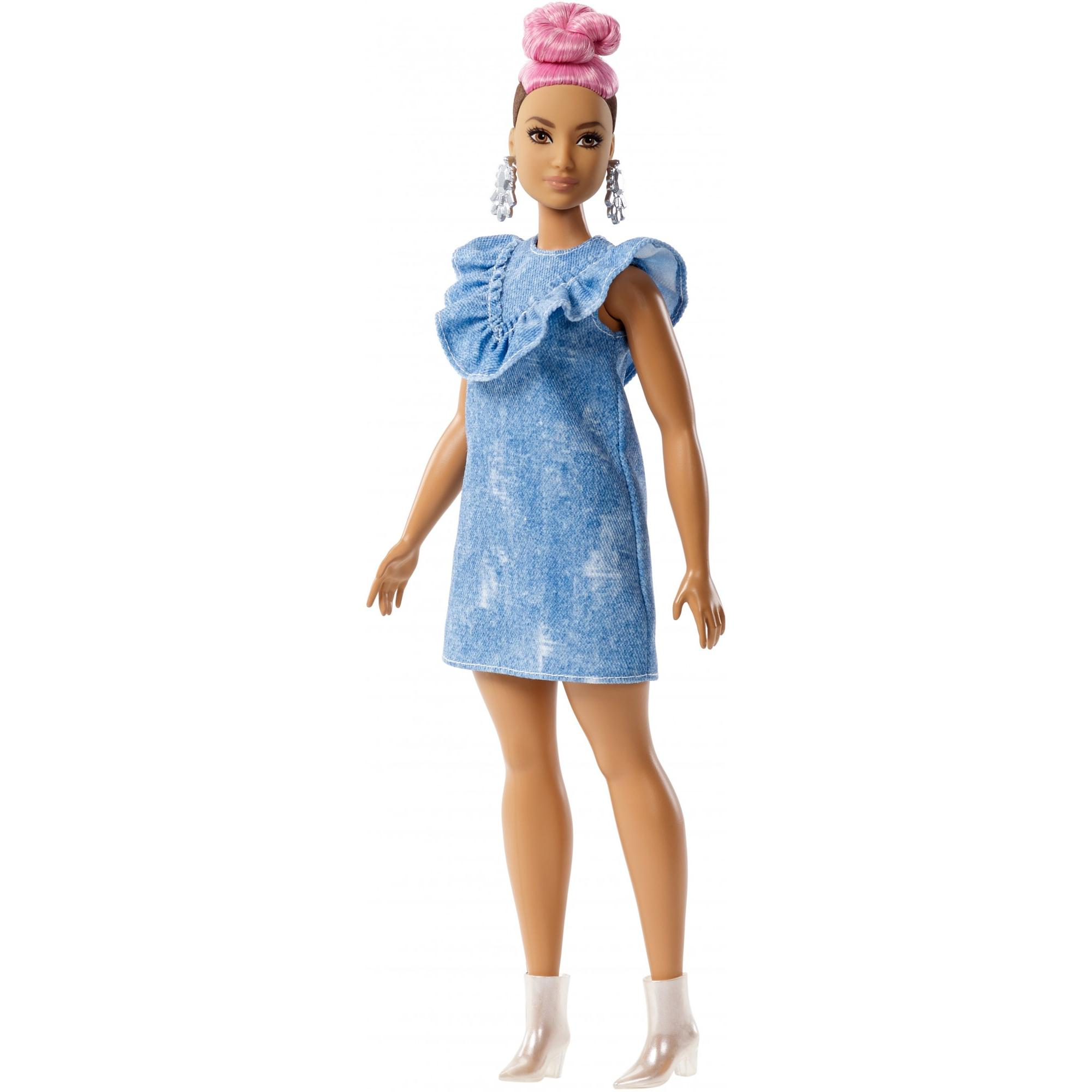 Barbie Fashionistas Doll 95, Denim Dress, Pink Hair by Mattel
