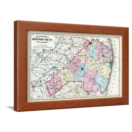 1873, Monmouth County Map, New Jersey, United States Framed Print Wall -