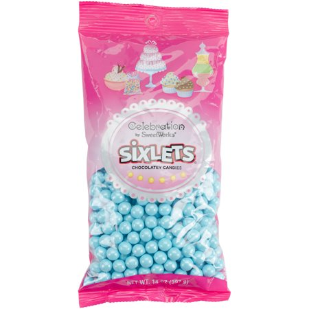 Celebration by SweetWorks Sixlets Chocolate Flavored Powder Blue Candy, 14 oz](Signets Halloween)