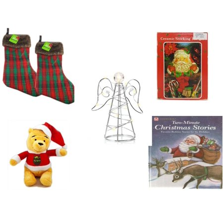 Christmas Fun Gift Bundle [5 Piece] - Be Jolly Faux Fur Plaid Stocking 20