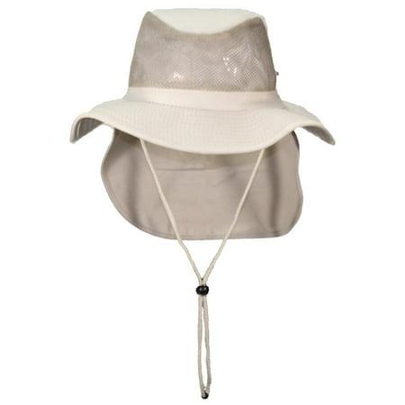 Tropic Hats Summer Cotton Wide Brim Mesh Safari W Neck Flap   Snap Up Sides  - Khaki XXXL - Walmart.com 7e621b99613a