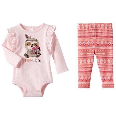 32a59bc0966 Koala - Infant Girls Pink Ruffle Baby Outfit I Love Jugs Sloth Bodysuit    Leggings - Walmart.com