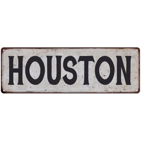 HOUSTON Vintage Look Rustic Metal Sign Chic City State Retro 6185847