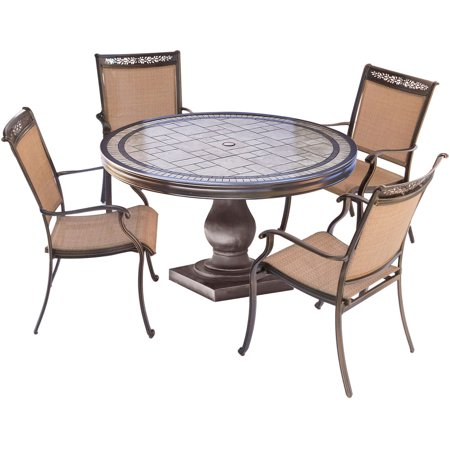 Hanover Fontana 5 Piece Outdoor Dining Set Weatherproof Garden Lawn Patio Furniture With Sling Chairs and Tile Top Table ()