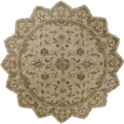 Hand-tufted Camelot Ivory Floral Border Wool Area Rug (8' Round) - 8' x 8'