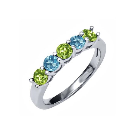 0.94 Ct Round Green Peridot Swiss Blue Topaz 925 Sterling Silver Ring