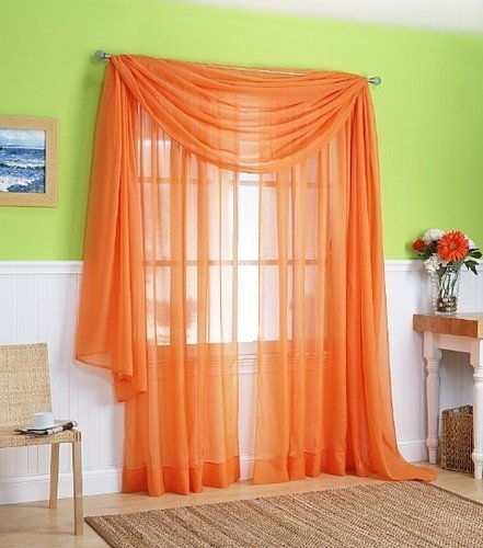 LuxuryDiscounts 2 Piece Solid Orange Elegant Sheer Curtains Fully Stitched Panels Window... by