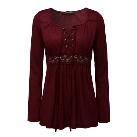 Elegant Maternity Long Sleeve Deep V Lace Up Tunic Blouse Tops Shirt