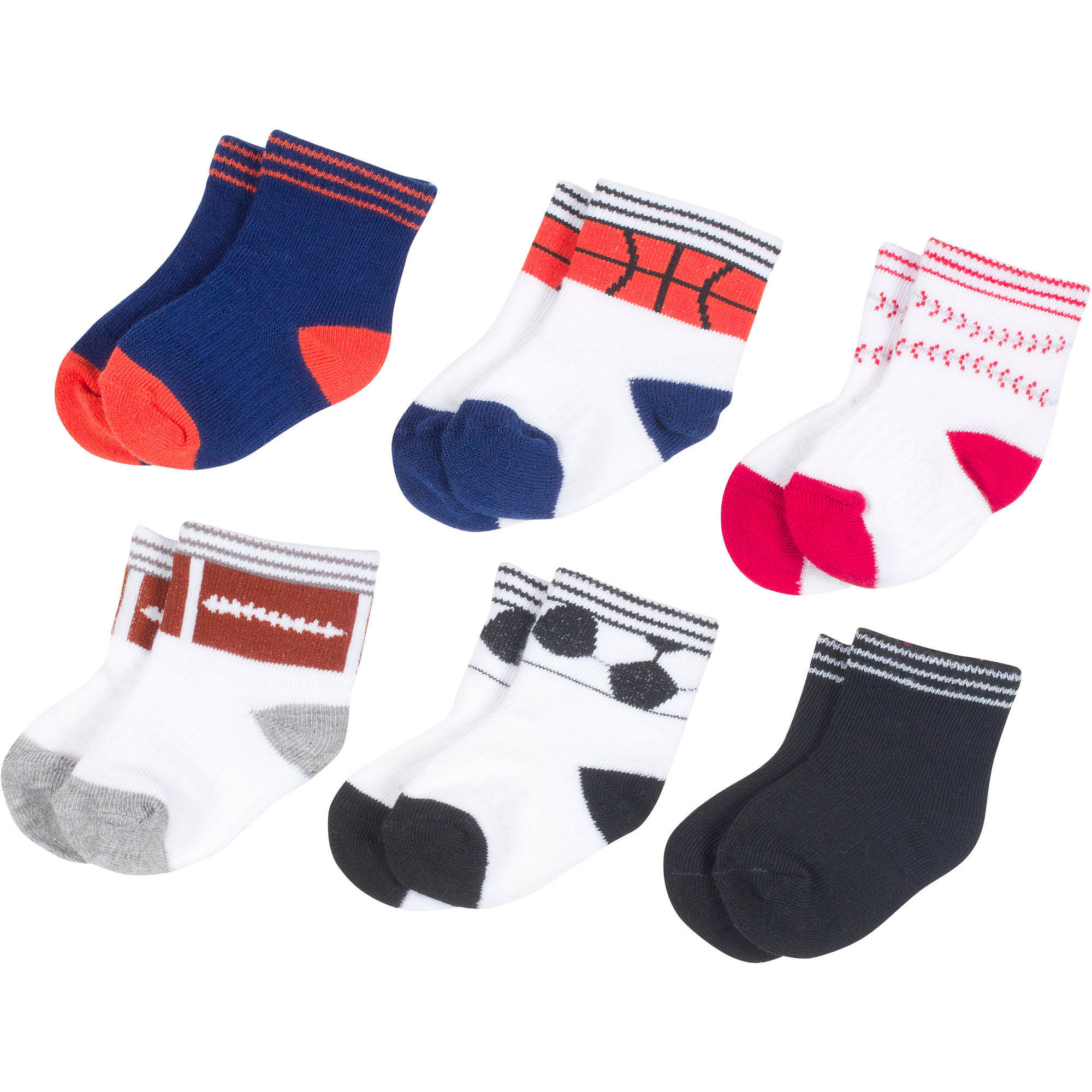 Growing Socks by Peds, Boy Infant, Balls, 6 Pairs