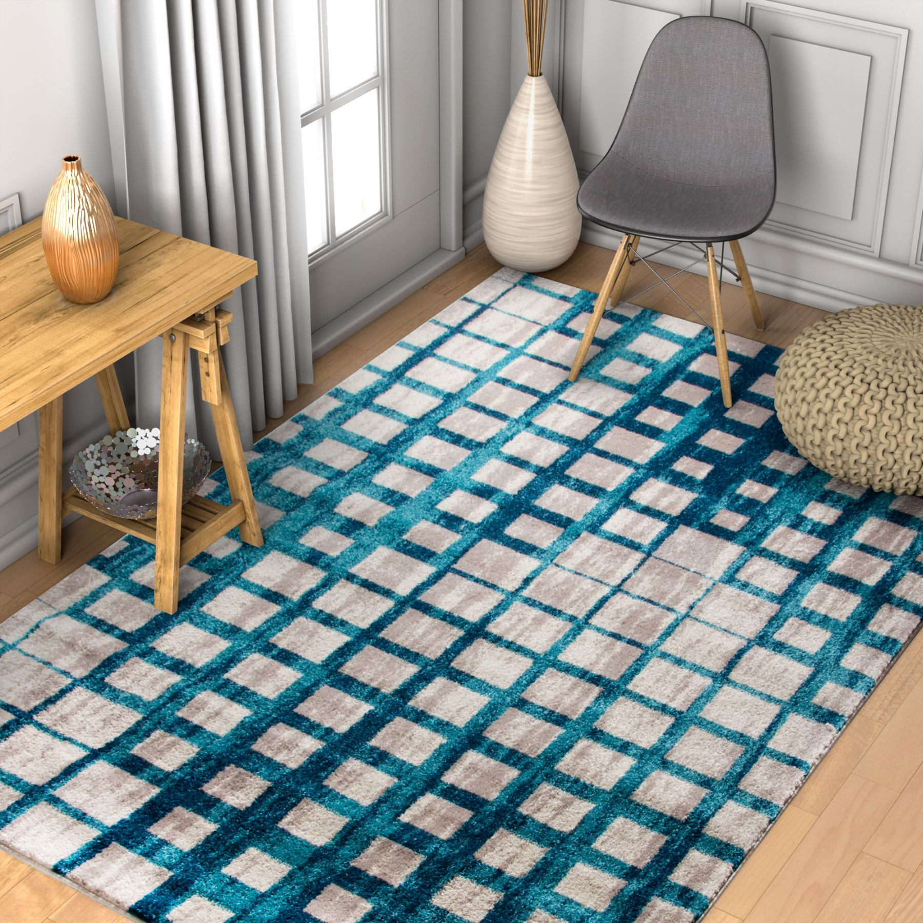 Well Woven Vettore Fortuna Lavender Modern Plaid Geometric Area Rug