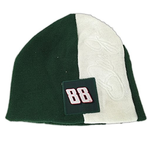 Nascar Dale Earnhardt Jr 88 2 Tone Green White Classic Knit Beanie Hat by Winners Circle