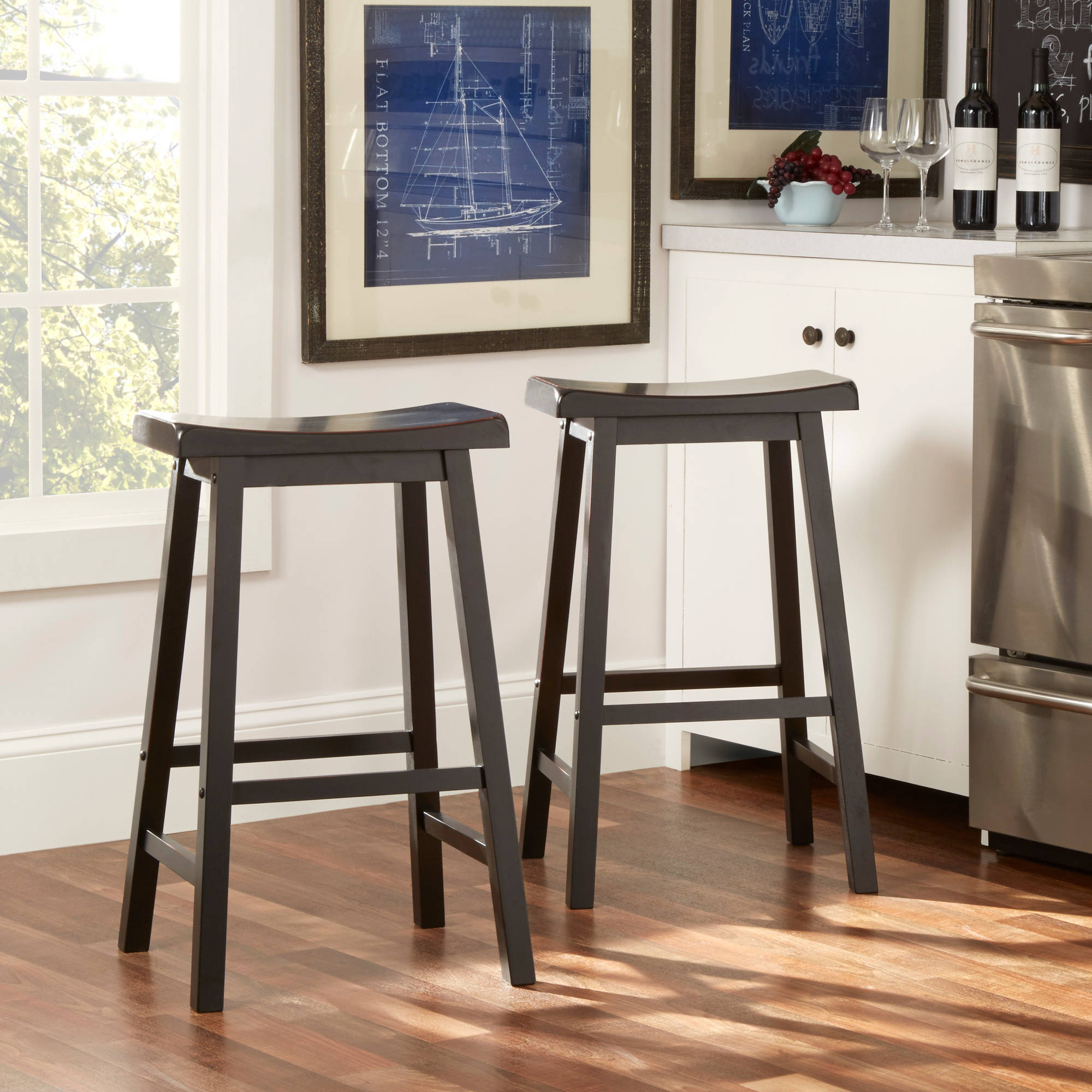 "Beech Wood Bar Stools 30"" Set of 2 Natural Walmart"