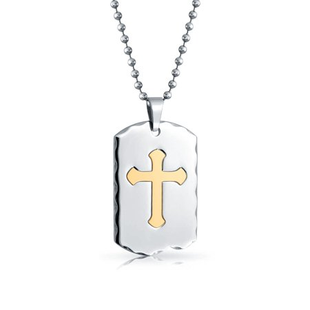 Engravable Two Tone Carved Edge Cross Dog Tag Pendant Necklace For Men For Teen Gold Plated Stainless Steel With Chain