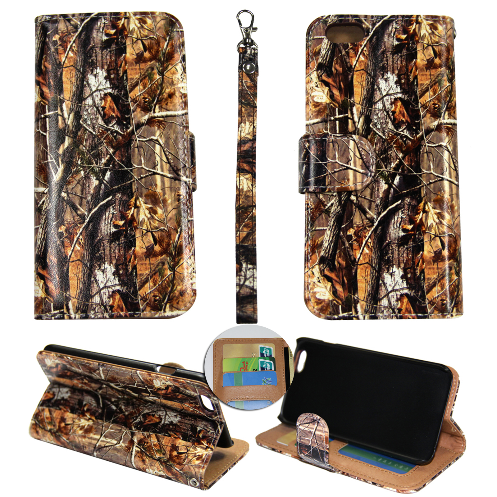 Camo Brown Oak Wallet Folio Case for for Iphone 6 & 6S Plus Fashion Flip PU Leather Cover Card Slots & Stand
