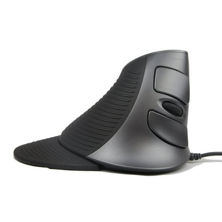 J-Tech Digital Scroll Endurance Wired Mouse Ergonomic Vertical USB Mouse with Adjustable Sensitivity (600/1000/1600 DPI), Removable Palm Rest & Thumb Buttons - Reduces Hand/Wrist Pain
