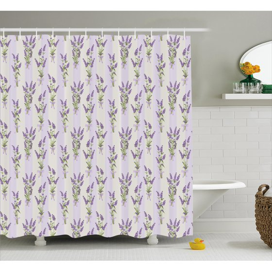Lavender Shower Curtain, Stripes and Flowers with Ribbons Romantic ...