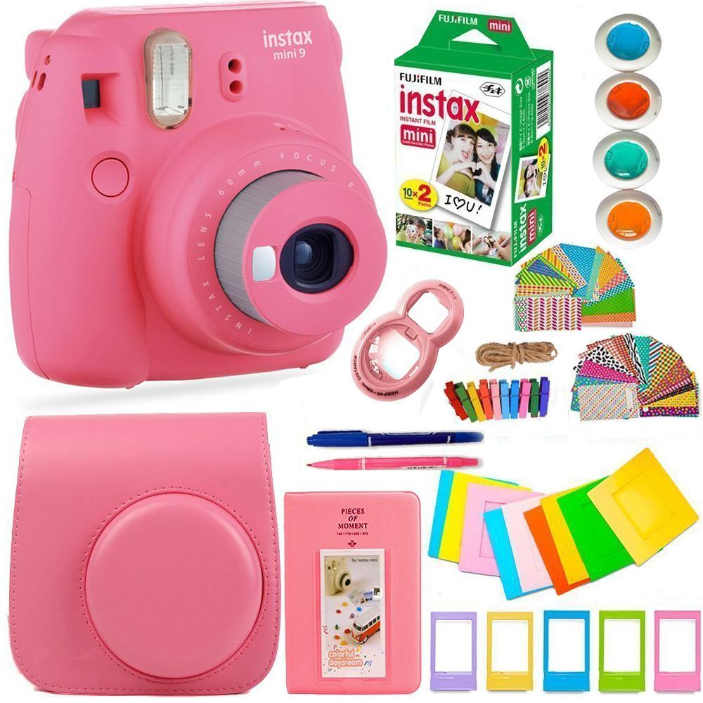 FujiFilm Instax Mini 9 Instant Camera + 20 Film + Huge Bundle/Kit! Flamingo Pink. GR8 GIFT IDEA!