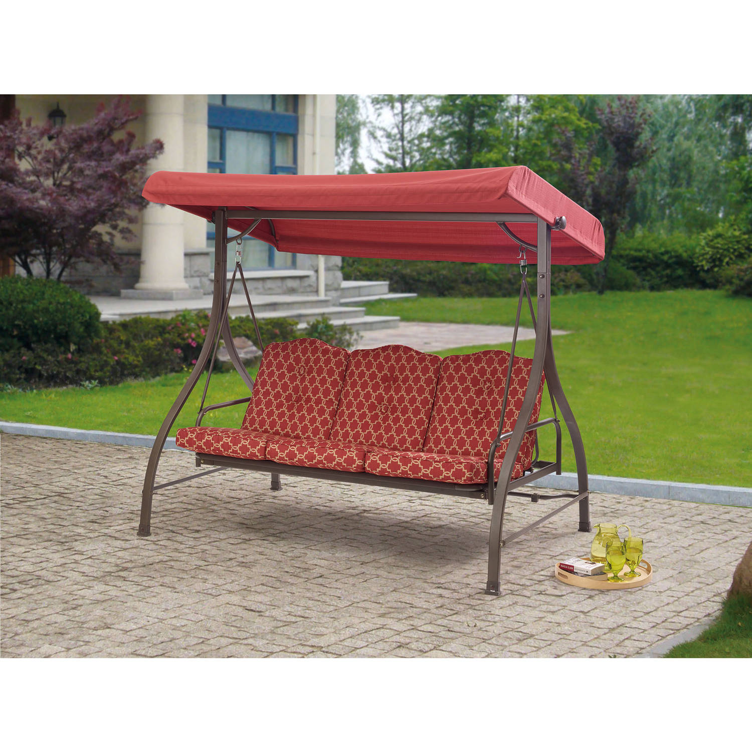 Mainstays Wentworth 3 Person Cushioned Canopy Porch Swing Bed   Walmart.com