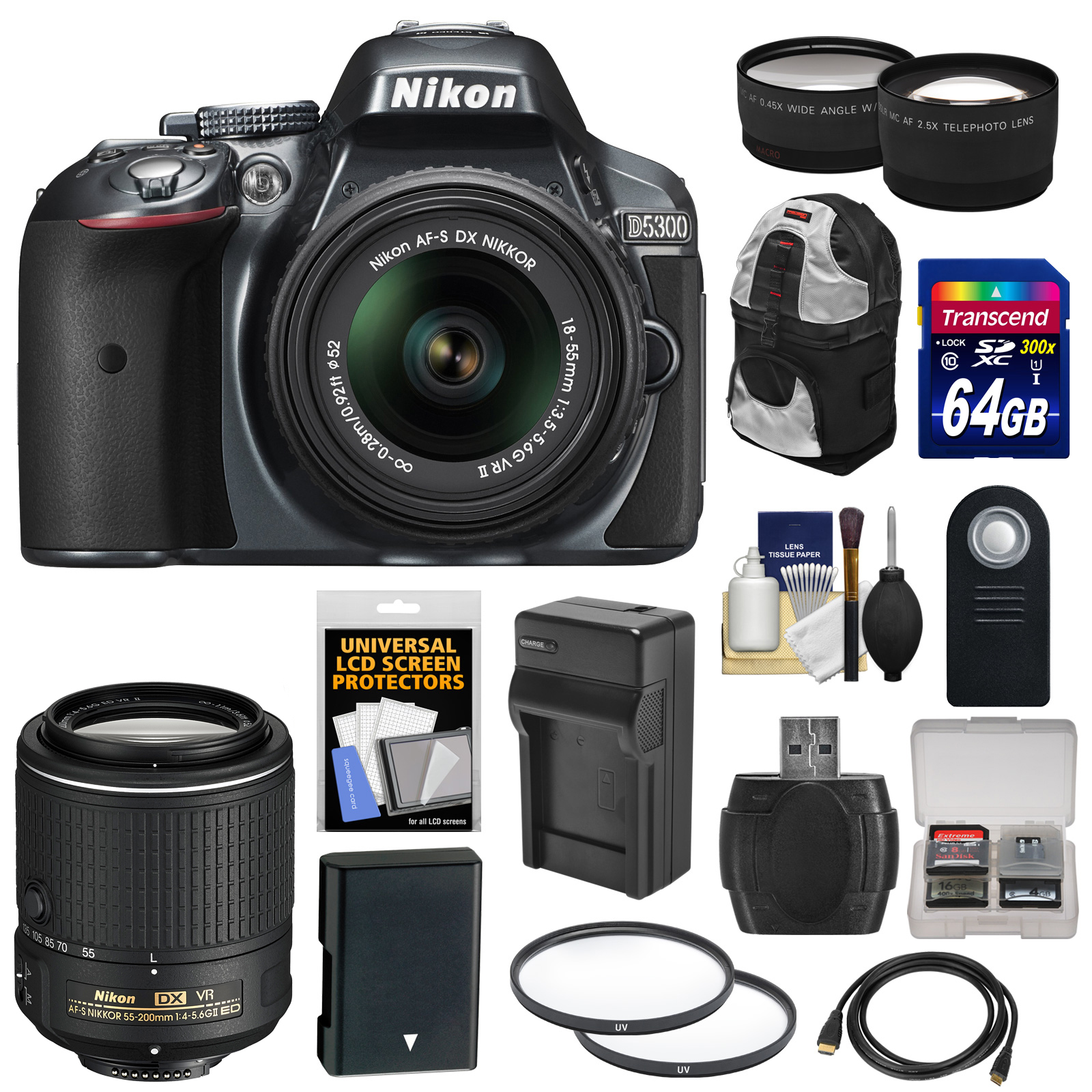 Nikon D5300 Digital SLR Camera & 18-55mm G VR II Lens (Grey) with 55-200mm VR II Lens + 64GB Card + Backpack + Battery & Charger + Tele/Wide Lens Kit