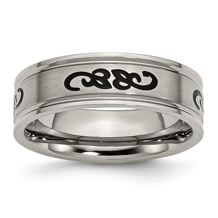 Titanium with Black Rubber Scroll Design Ridged Edge 7mm Band Ring - Ring Size: 7 to 13 Black Rubber Scroll Design