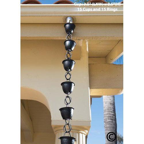 Monarch Aluminum Hammered Cup Rain Chain, 8-1/2 Feet Length (Flat Black Powder Coated)