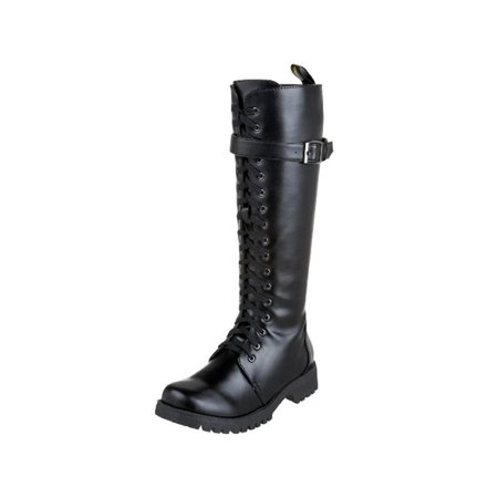 d3f63e8151e Volatile Womens Combat Faux Leather Knee High Combat Boots