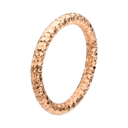 Jewelry  Hammered Stainless Steel Ring - IP Rose Gold - 8 in. - image 1 de 1