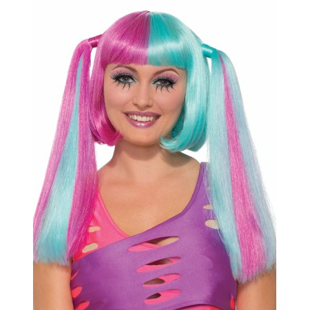 Cotton Candy Split Pink Blue Pigtail Bangs Cosplay Costume Wig (Pink Pigtail Wig)