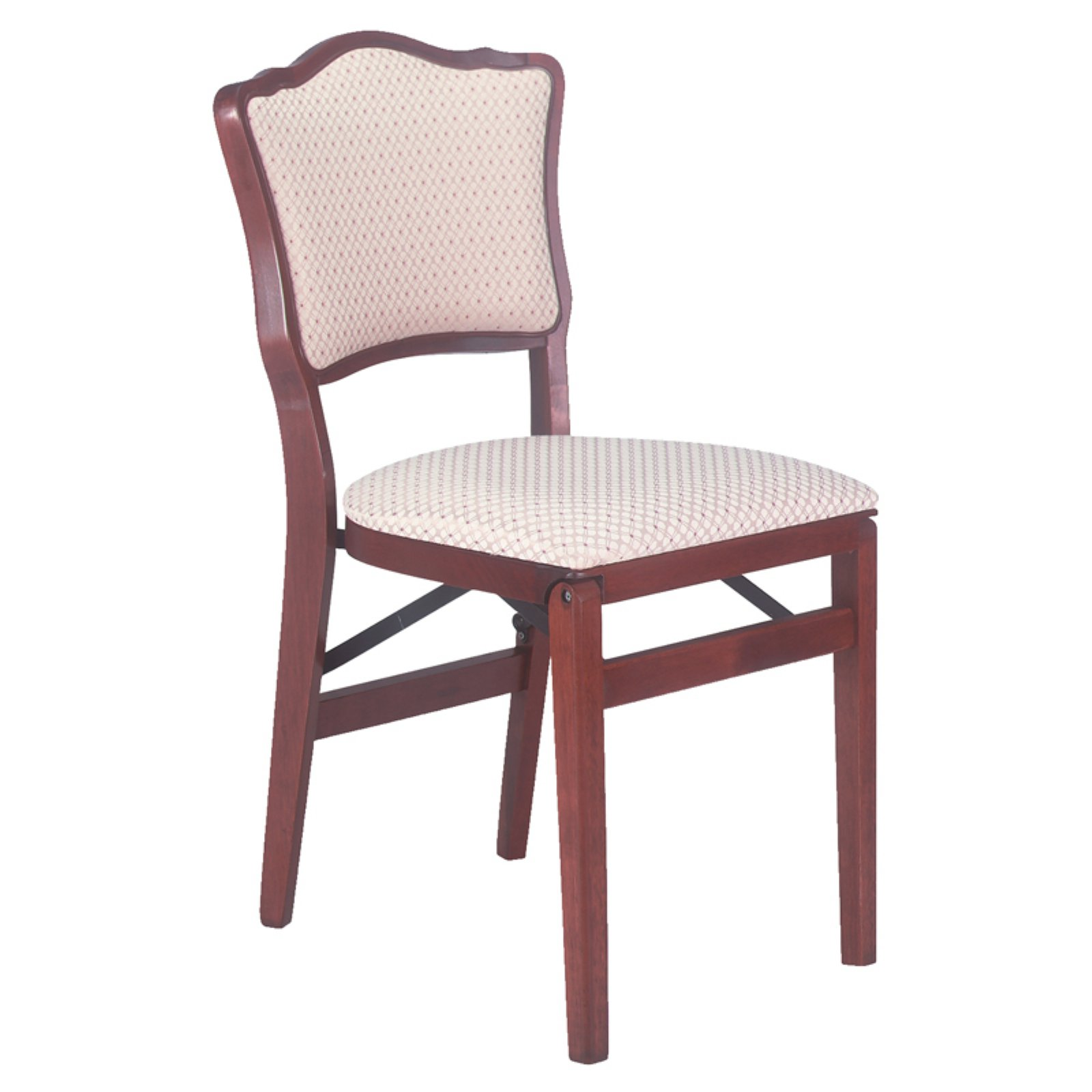 French upholstered back folding chair - Blush fabric and light cherry