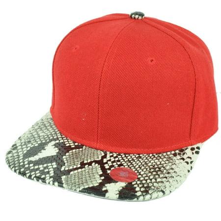 Red Blank Plain Solid Panel Faux Snake Skin Flat Visor Snapback Hat Cap Animal