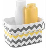 InterDesign Una Bathroom Tote Basket with Handle (Gray/Yellow Chevron)