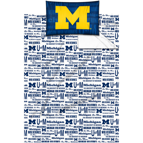 NCAA Anthem Bedding Sheet Set, University of Michigan