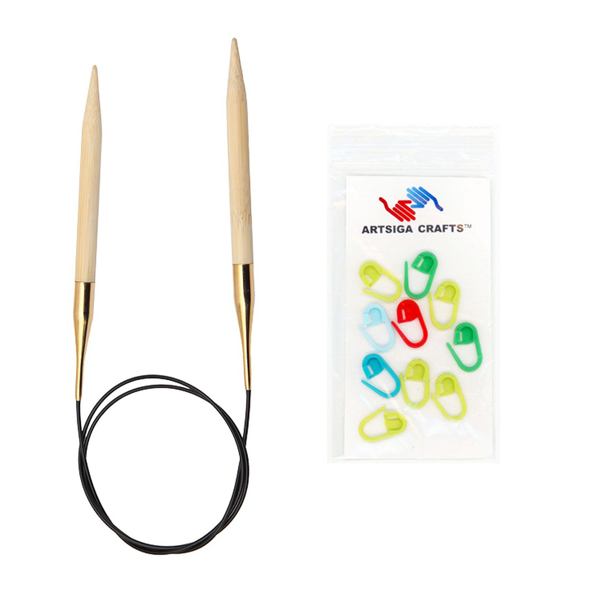 Knitter's Pride Bundle: Bamboo Circular 40-inch (100cm) Knitting Needles + 10 Artsiga Crafts Stitch Markers