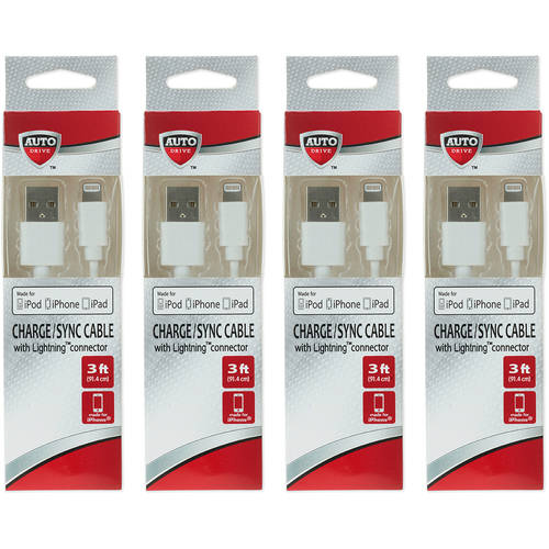 AutoDrive 3ft Lightning Cable for iPhone/iPad, 4-Pack Bundle Offer