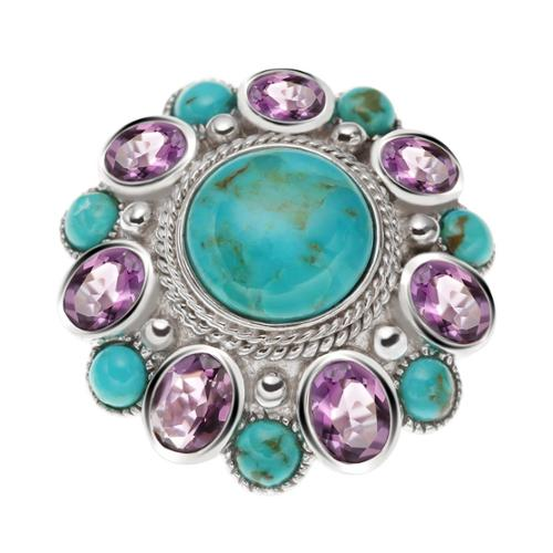 Sterling Silver 10.33ct Round Turquoise and Brazilian Amethyst Flower ring Size 7
