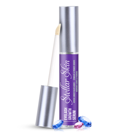 Eyelash Growth Serum from Stellar Skin. Best enhancer for Long, Full, Thick Eyelashes and Brows. Natural conditioning treatment to boost lash growth. Made in the (Best Lash Growth Product)