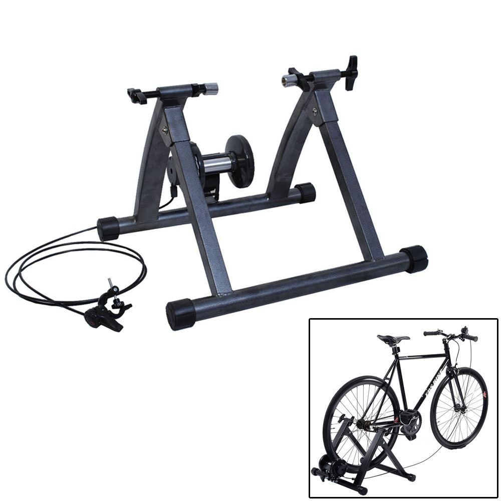 Zimtown Foldable Bike Trainer Stand, Indoor Exercise Stationary Bicycle Cycling Training, with 5 Resistance Levels, Noise Reduction Wheel