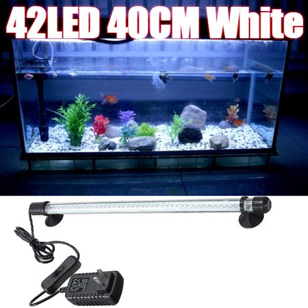 - 110V/220V 42 LED Aquarium Light Bar Fish Tank Light Aquarium Submersible White Blue Light Lamp Bar Waterproof With 2 Suction Pads