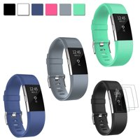 EEEKit 4 in 1 Kit for Fitbit Charge 2, 3 Pack Replacement Adjustable Silicone Sport Strap Accessories Wrist Band & 3-Pack Screen Protectors for Fitbit Charge 2 Smartwatch