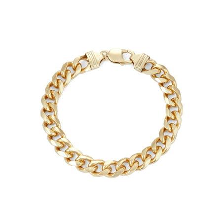 Mens Sterling Silver Curb Chain Bracelet - Men's 18kt Gold over Sterling Silver Square 9.7mm Curb Bracelet, 9