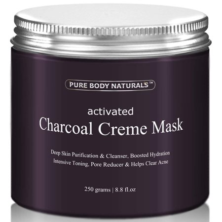 Activated Charcoal Creme Face Mask by Pure Body Naturals, 8.8 Fl. Ounce (Sound Activated Mask)