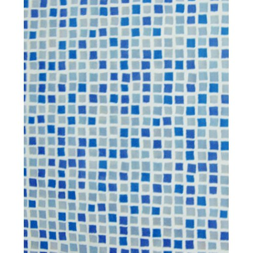 Carnation Home Fashions Mosaic Blue Vinyl Print Shower Curtain