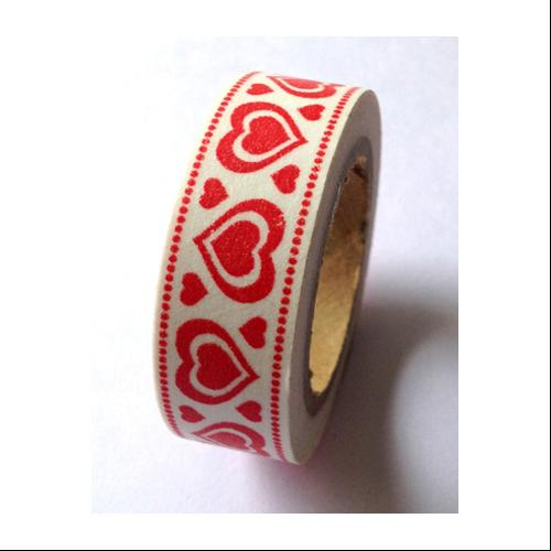 Washi Tape 15mmX10m-Red Heart Border